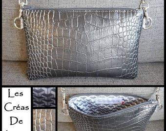 Faux croco gray and silver shoulder bag purse
