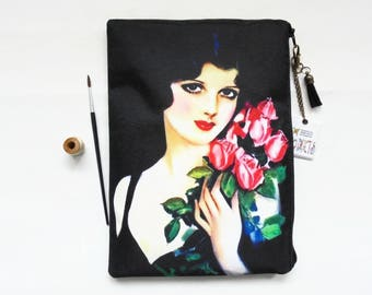 Gifts for her, 1920s woman with flowers,  wash bag, travel bag, cosmetic bag, zip bag, make up bag, large makeup bag.