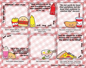 Bible Verse Lunch Notes Picnic - Picnic Lunch Notes - Lunchbox Spiritual Nutrition