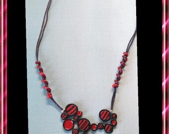 Black and Red polymer clay necklace