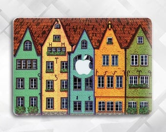 Case with painted houses Macbook Pro Case Macbook Pro 13 Case Macbook Air 11 Case Macbook Air Macbook Air 13 City Macbook Case