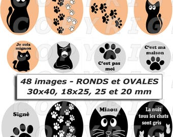 48 digital images for cabochon theme cats and their paws black grey beige assortment - round and oval footprint