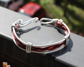 Red copper bracelet and silver metal