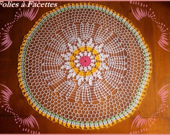 Doily, large round table centerpiece, crochet bouquet of summer flowers
