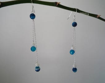 Silver plated dangle earrings - Agate earrings mother of Pearl and blue