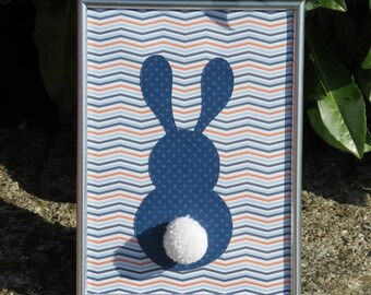 """Deco frame for child's room """"my little bunny"""" colors: different shades of blue, orange and tassel"""