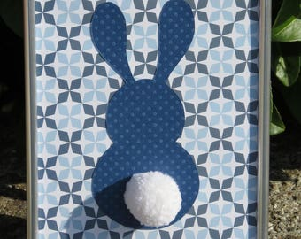 """Deco frame for child's room """"my little bunny"""" colors: various blues, white and woolen pompon"""