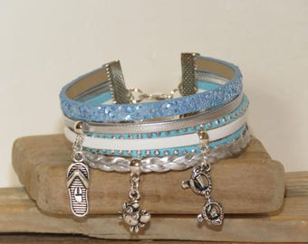 """Beach vacation"" Cuff Bracelet leather, with sequins, studded Suede, white, blue and silver"