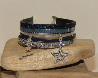 """Bracelet cuff """"double glitter and stars"""" leather, glitter colors Navy Blue, blue and white - gift idea"""