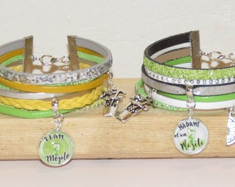 """set of 4 bracelets """"mojito"""" leather glitter leather, suede, color choice in the game of mojito bracelet"""