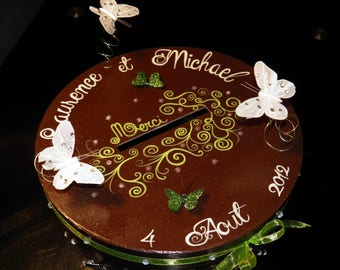 Urn wedding theme chocolate, green anise, butterflies, nature, lime green, chocolate, customizable colors.