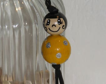 "Keychain doll with wooden beads, bag charm, mustard yellow color, ""Smile ball"" entirely handpainted, personalized"