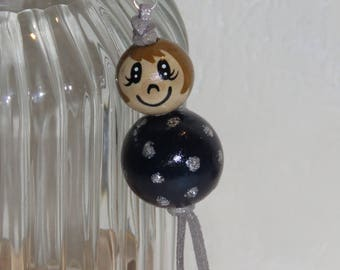 "Keychain doll with wooden beads, bag charm, ""smile ball"" fully customizable, and hand painted blue Navy"