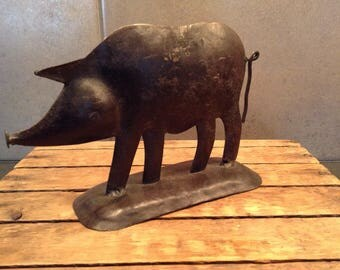 Rustic metal pig sculpture, circa 1990