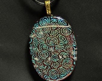 Metallic Green Spiral Glass Pendant