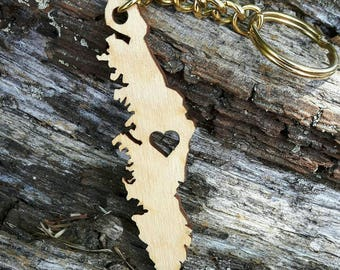 Vancouver Island Laser Cut Keychains in Wood or Acrylic