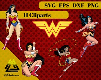 Wonder Woman Clipart – 11 (Svg, Eps, Png, Dxf Files) – 300 PPI – Vectorial Images – Wonder Woman svg , Wonder Woman Printable