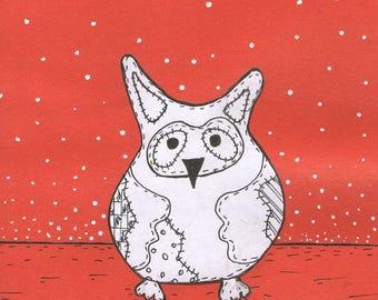 owl Drawing, acrylic, CARDBOARD , Lishko Vitaliy collage mixed media, painting