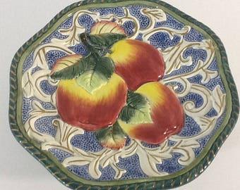 "Fitz & Floyd Florentine Fruit  Canape 9"" Plate Blue Gold Apple Majolica"