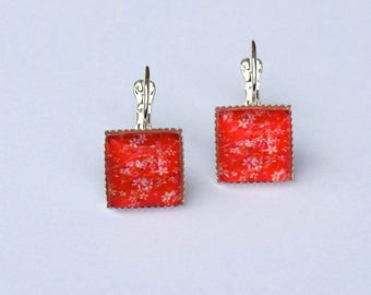 Square patterned Japanese Red Stud Earrings