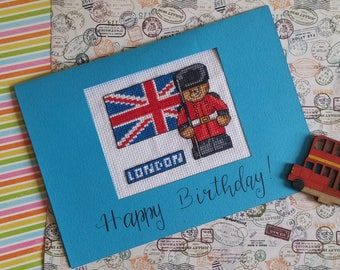 Happy Birthday Card Teddy in London/Embroidered card