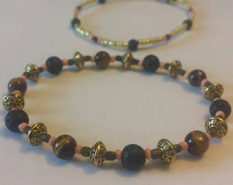 Tiger's eye bracelet set with lava stone, glass and euro style beads