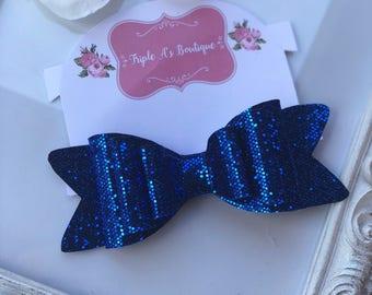 Royal blue bow/ glitter bow