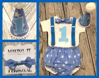 Boys 1st Birthday Cake Smash Outfit Blue White Star Party Hat Nappy Pants Braces Bow Tie Bodysuit Vest Glitter Vinyl 1 READY TO POST!!