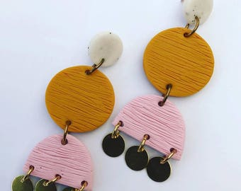 Harper & Fern Polymer Clay Dangle and Gold Earrings