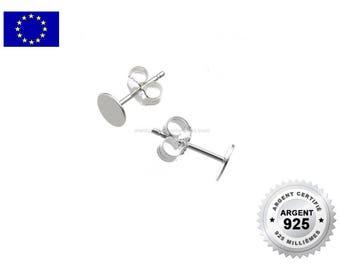 Argent 925 - 2 ou 10 Clous Disque 6mm - Clous d'Oreilles en Argent 925