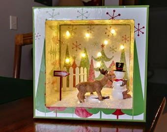 Seasons shadow boxes with lights