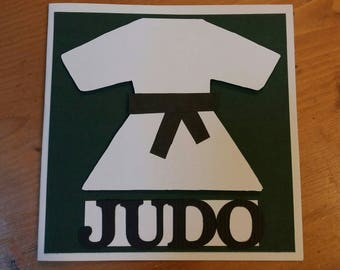 "Card ""Judo"" slightly 3D for any occasion - handmade"