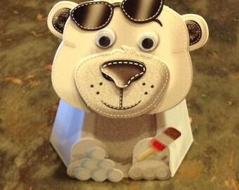 """3D card """"Polar bear"""" with the head that moves"""