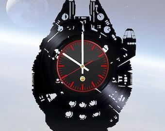 Millennium Falcon Star Wars Vinyl Record Wall Clock