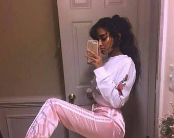 Pink satin stripe tracksuit bottoms