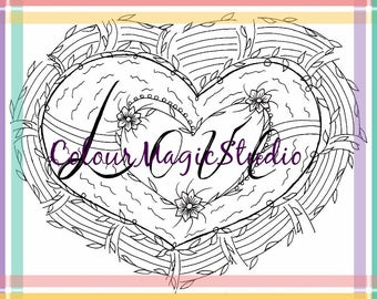 Coloring page in Love style