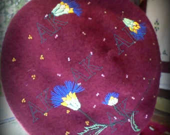 Wool beret, wool, Burgundy, embroidered Blueberry