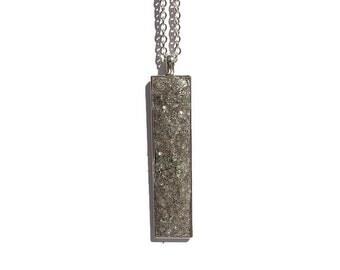 Drop pendant, drop necklace, bar pendant, crystal pendant, boho, under 20 dollars, geode pendant, druzy, rectangle pendant, taupe druzy