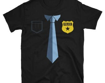 Police Outfit T-Shirt - Funny Police Officer Badge Shirt - Policemen Shirt And Tie Tee