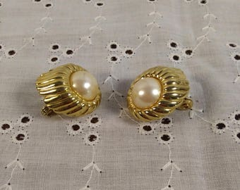MONET Earrings Clip On Earrings Gold Tone with faux pearl, costume jewelry
