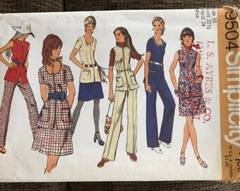 Tunic with Mini Skirt and Pants Sewing Pattern, Size 10