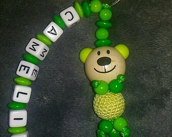bear head name keychain