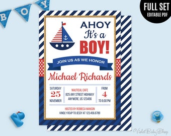 Nautical Boy Baby Shower Invitation Template. Printable Baby Shower Invitation. Ahoy it's a Boy Invitation. Maritime Boy Navy Download