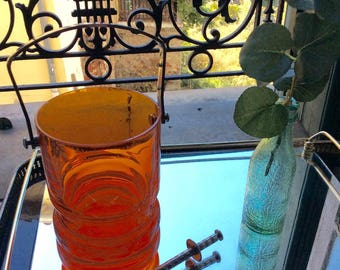 1960's Orange glass ice bucket with silver handle