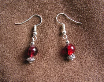 Earrings Red Ruby glass beads