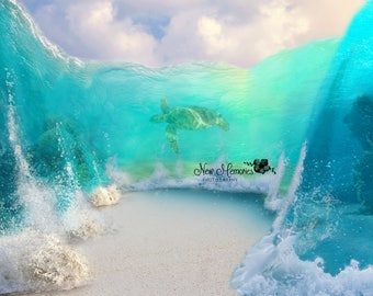 Ocean Digital Background, Beach Digital Background, Sea Digital Background, Coral Reef Digital Background, Ocean Fantasy Background