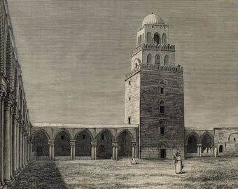 View of the Minrate and the Courtyard of the Grand Mosque of Kairouan, Tunisia 1885 - Old Antique Vintage Engraving Art Print - Millstone