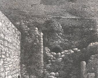 Siloe Fountain, Palestine 1881 - Old Antique Vintage Engraving Art Print - Women, Man, Water, Fountain, Wall, Stones, Boulders, Hill