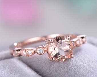 Rose Gold Pink Morganite Engagement Ring CZ Diamond 925 Sterling Silver Round Cut Antique Art Deco Wedding Promise Ring for Her Anniversary