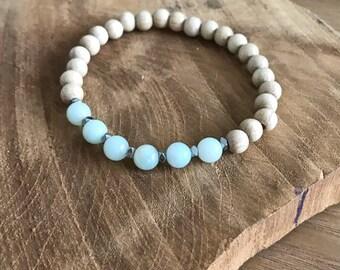 Wood, amazonite and hematite bracelet
